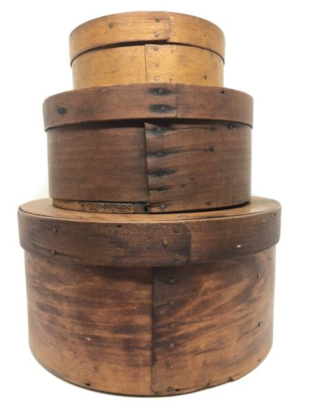 Stack of 3 Antique Shaker Round Pantry Boxes With Amazing Patina