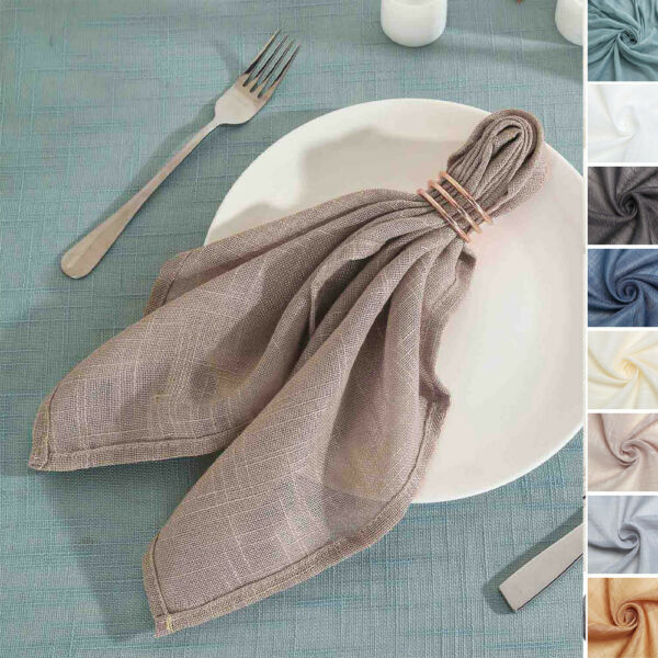 20 Inch Faux Burlap NAPKINS Premium Polyester Party Wedding Table Decorations