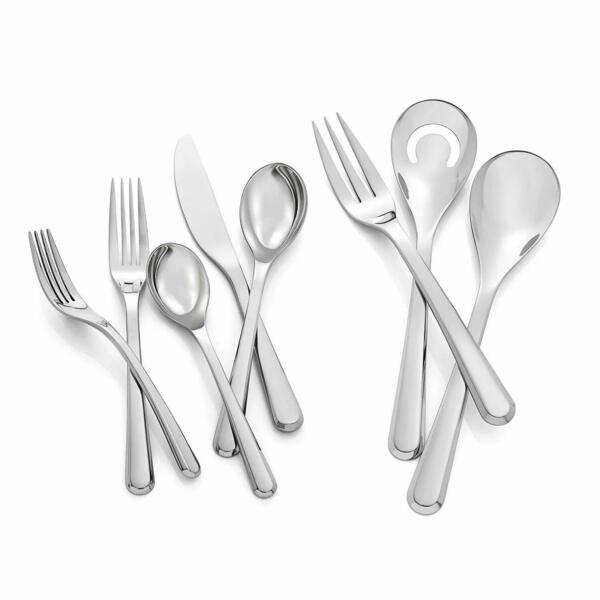 Nambe Aura 45 Piece Stainless Steel Flatware Cutlery Set Service For 8 Silver