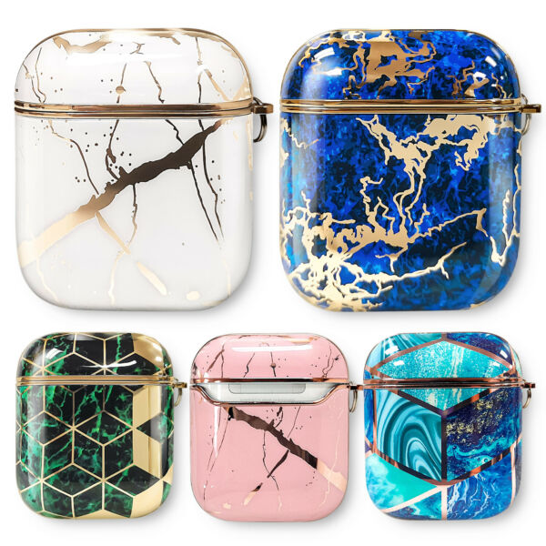 AirPods Case Keychain Clip Protective Marble Cover For Apple Airpods 1 2 amp; Pro