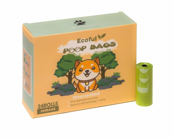 Ecoful Dog Poop Bags 24 Rolls Extra Thick amp; 100% Leak Proof Biodegradable Bags $15.99