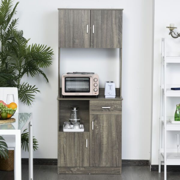 HOMCOM Modern Kitchen Buffet with Hutch Pantry Storage and Microwave Counter