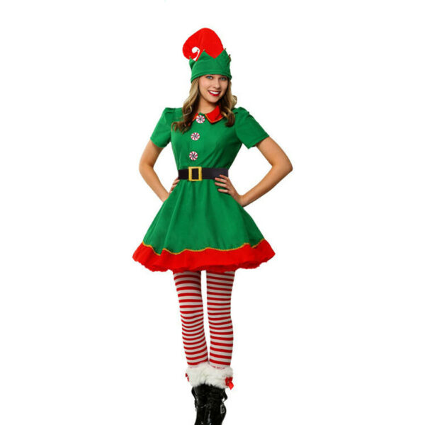 Holiday Elf Costume Dress with HatElastic BeltLeggingsElf Costumes for Women $30.99