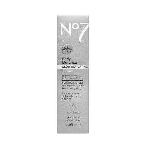 No7 Early Defence Glow Activating Serum 1 fl oz. New Sealed $7.99