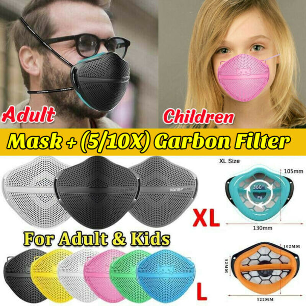 Silicone Reusable Separate Nose Mouth Mask amp; Carbon Filter Pad Purify Respirator