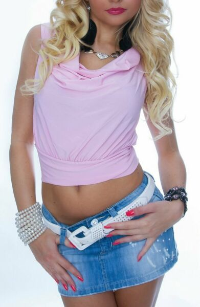 Sexy Miss Ladies Cropped Waterfall Top Hot Pump SHIRT S M 34 118 1 12ft PINK $17.65