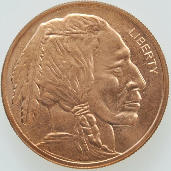 .999 FINE COPPER Buffalo Indian Head Round Coin 1 Roll 20 Lot Investment Bullion