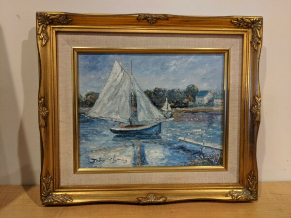 JOHN DYMES ORIGINAL OIL CANVAS PAINTING LISTED ARTIST RARE BOATS