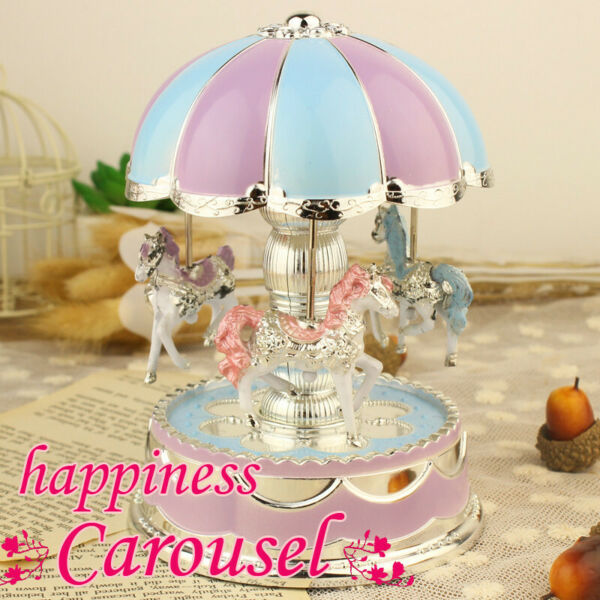LED Light Merry Go Round Music Box Carousel Christmas Birthday Kids Gift Toy A