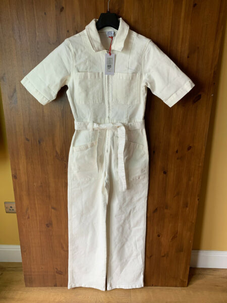 RRP £49 BDG URBAN OUTFITTERS DENIM JUMPSUIT Cream Boiler Suit S UK 8 10 NEW GBP 29.95