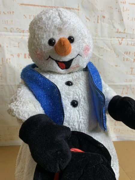 Gemmy Animated Snow Miser Snowman Christmas Spinning Snowflake Blue Vest 18quot;
