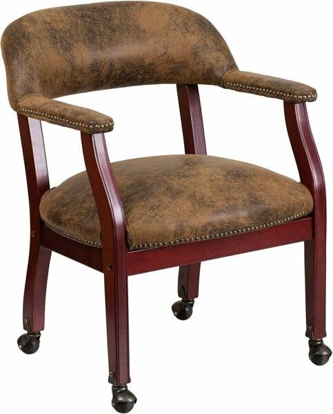 Flash Furniture Brown Microfiber Guest Chair with Accent Nail Trim amp; Casters New $203.38