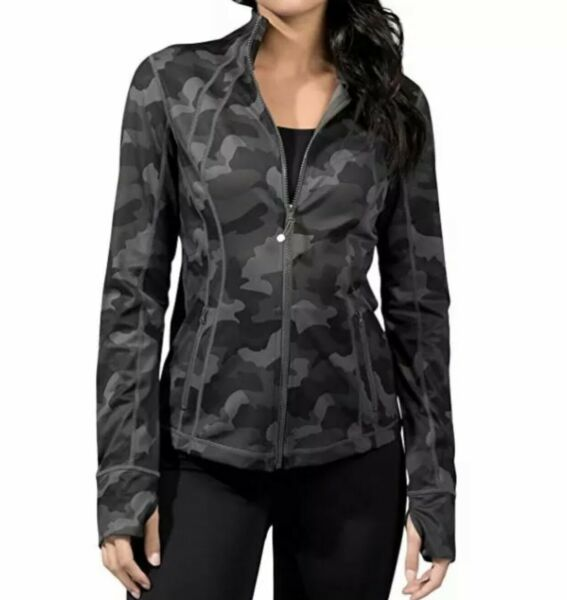 YOGALICIOUS LUX Womens Ultra Soft Full Zip Yoga Jacket Zipper Green Camo Large