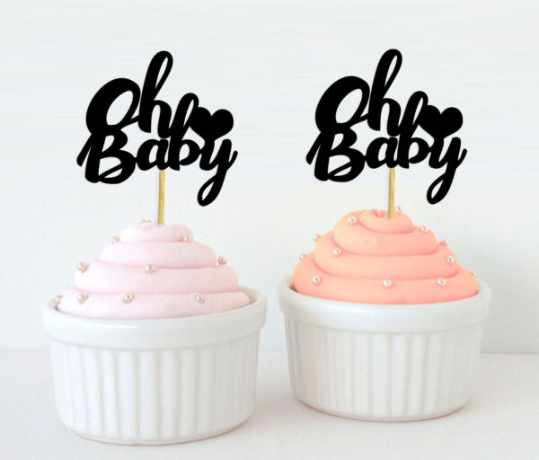 Darling Souvenir Oh Baby Cupcake Toppers Baby Shower Party Dessert Ol5