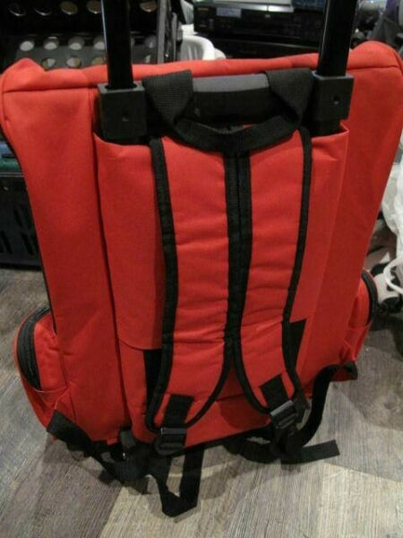 Pet Carrier Backpack Dog or Cat Rolling Travel Luggage Bag w Double Wheels Red $29.99