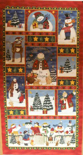 MODA Fabric CELEBRATE THE SEASON 23quot; PANEL Red Background