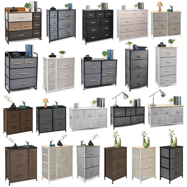 Cerbior Chest of Fabric Drawers Dresser Furniture Bins Bedroom Storage Organizer $75.99