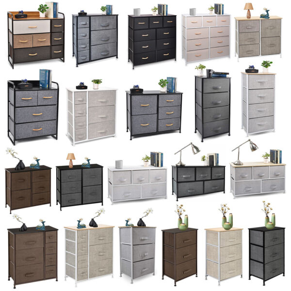Cerbior Chest of Fabric Drawers Dresser Furniture Bins Bedroom Storage Organizer $77.89