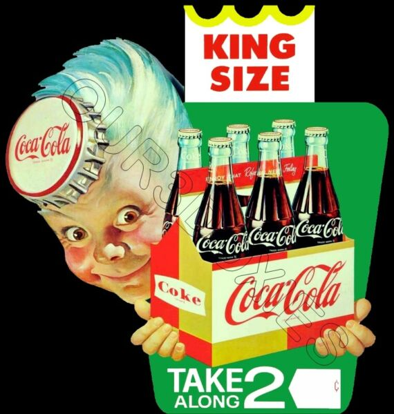 1950#x27;s Coca Cola Sprite Boy Die Cut Store Counter Standup Sign Coke Soda Repro