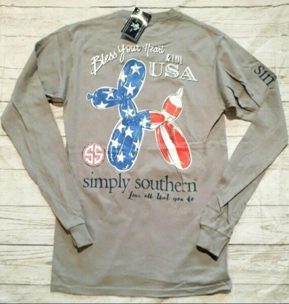 NWT Simply Southern quot;Bless Your Heart amp; the USAquot; Women#x27;s Small Long Sleeve Tee $13.88