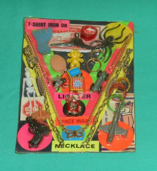 vintage VENDING MACHINE CARD display sign rings lighter pin skeleton necklace