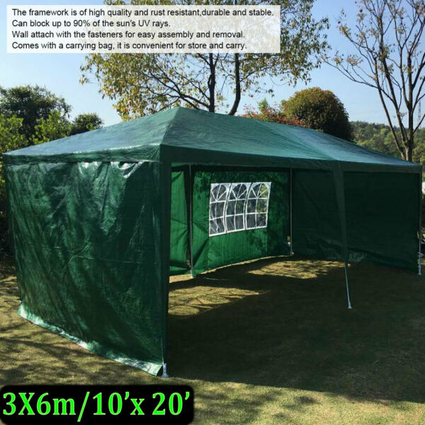 10#x27;x20#x27; Outdoor Canopy Party Tent Patio Heavy duty Gazebo Wedding Tent w Bag