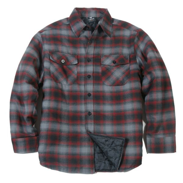 YAGO Men#x27;s Plaid Flannel Button Up Casual Shirt Jacket Red Black AC7 S 5XL