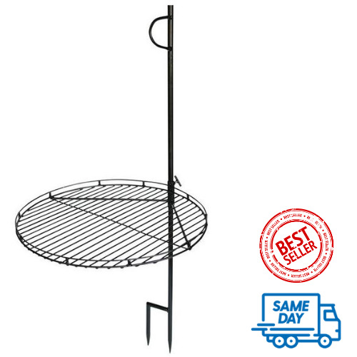 Swing Away Campfire Grill 46 H Portable Wood Fire Cooking Grate Pit Camp Stake
