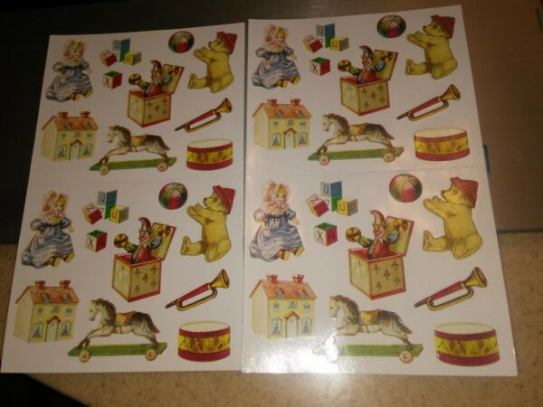 Vintage Gifted Line Stickers Victorian Antique Toys Christmas Drum Bear Lot 2
