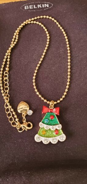 Betsey Johnson Gold Tone Christmas Tree Necklace NEW