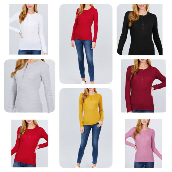 Women#x27;s Basic Cozy Thermal Henley Shirt Top Stretch Cotton Long Sleeve Pullover