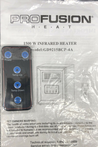 Remote Manual Profusion Heat 1500 Infrared Model gd9215bcp 4A