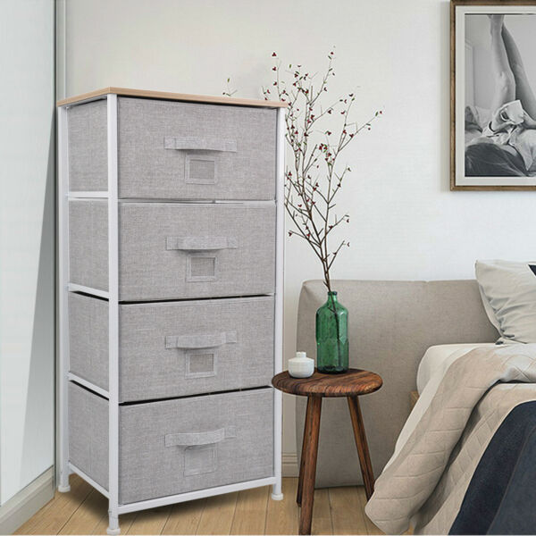 Chest Fabric Storage 4 Drawers Dresser Bedroom Cabinet Furniture Toys Organizer $45.99