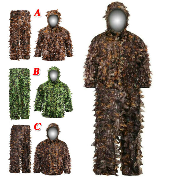 Ghillie Suit Camouflage Outdoor 3D Leaf Clothing Breathable Hooded Jacket Pants
