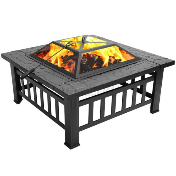 32quot; Square Metal Fire Pit Outdoor Patio Garden Backyard Stove Firepit Brazie