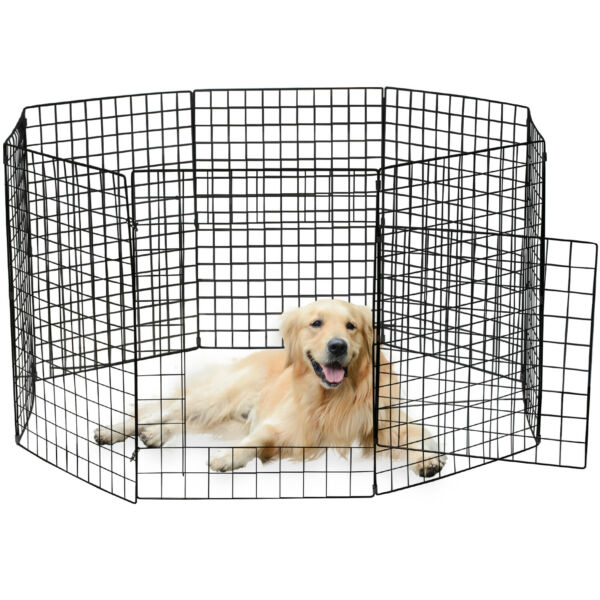 Portable 28quot;Metal Dog Pet Playpen Crate Animal Fence Exercise Cage W Door 8 Pcs $35.99