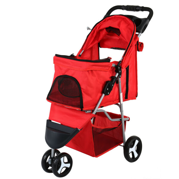 Red Pet Stroller Small Cat Dog Cage 3 Wheels Stroller Travel Folding Carrier FHC $53.97