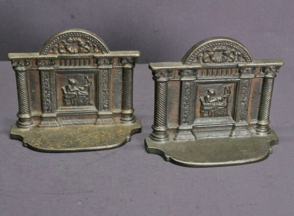 Fireplace Cast Iron Book Ends Lady Weaving Sewing Antique Vintage Bookends