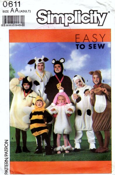 Simplicity 0611 Adult Animal Costume Bee Cow Mouse Dog Sewing Pattern Uncut C $24.99