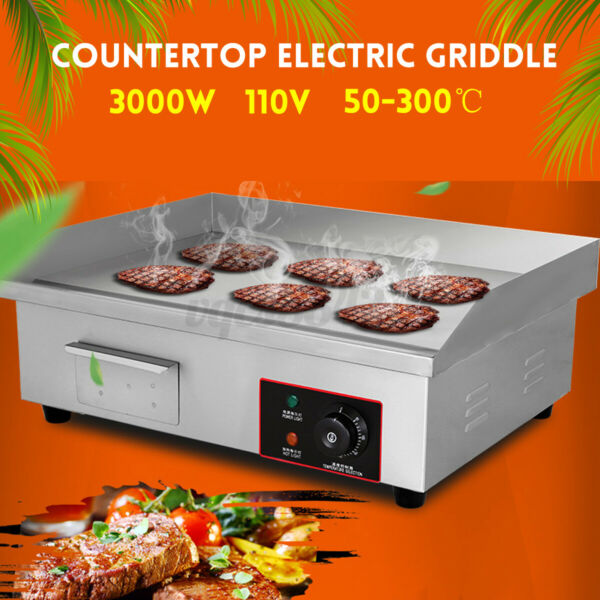 3000W Countertop Electric Griddle Grill Commercial Flat Top Non Stick BBQ Plate