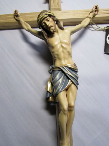 18.5quot; Large Wood Carved Crucifix Beautifully Hand Painted Solid Wood Corpus