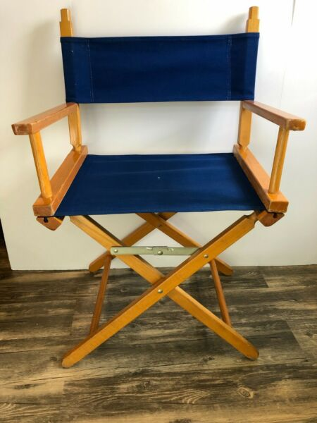 VTG Director Commander Chair Mid Century Baxter TN Folding Blue Chair USA $65.00