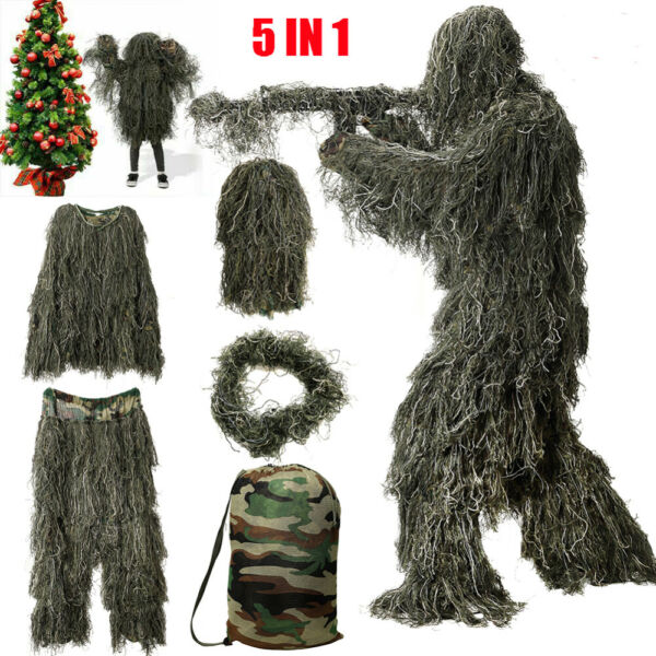 3D Tactical Camouflage Sniper Ghillie Suit Woodland Desert For Hunting Army 5Pcs