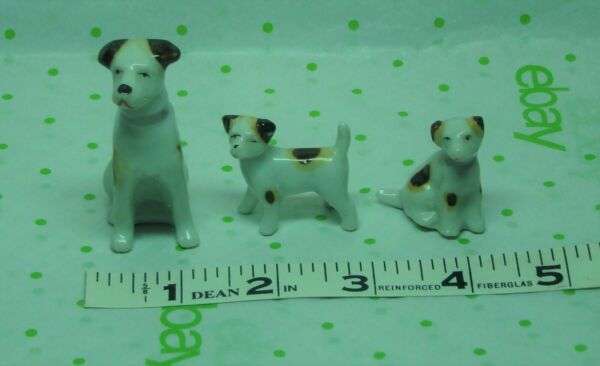 Lot Of 3 Vintage Ceramic Dogs Mom amp; 2 Pups White With Brown Spots Made In Japan $14.99