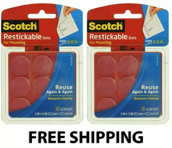 Scotch Restickable Dots Mounting Adhesive Reusable 7 8 in Clear 18 Count 2 Pack