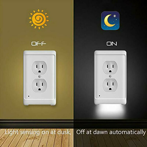 5pack Duplex Wall Plate Outlet Cover w LED Night Light Ambient Light Sensor Lamp