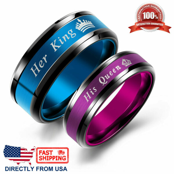 King Queen His or Her Couple#x27;s Matching Promise Ring Comfort Fit Wedding Band