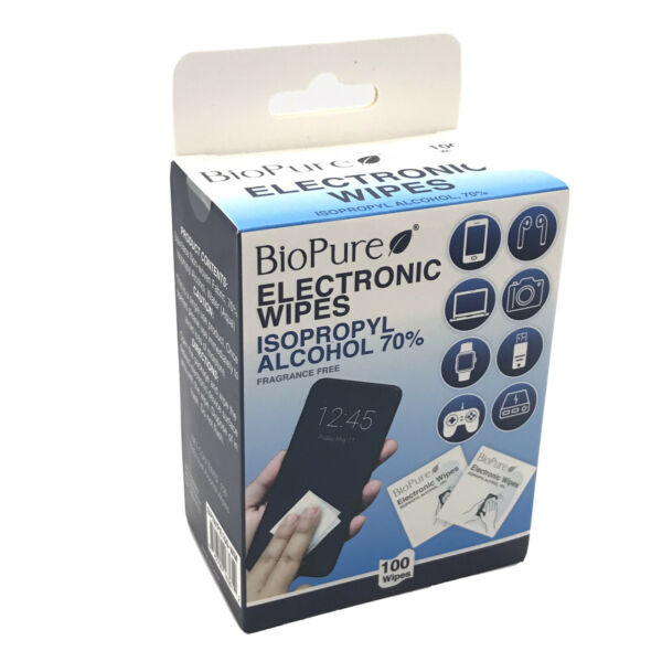 BioPure Electronic Wipes 100 Count Isopropyl Alcohol 70% Frangrance Free New $12.95