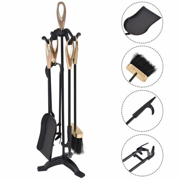 5 Piece Fireplace Tool Set Hearth Fire Accessories Tools Set Kit w Stand