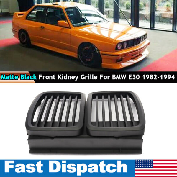 For 1982 1994 BMW E30 Grill 3 Series Front Hood Kidney Grille M3 Look Shiny Trim